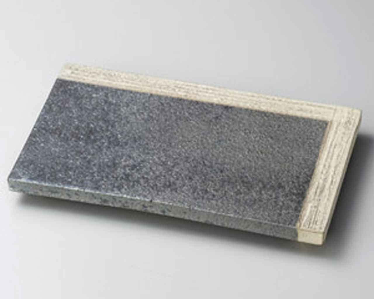 Yohen Kakewake 12.2inch Long Plate Grey Ceramic Made in Japan