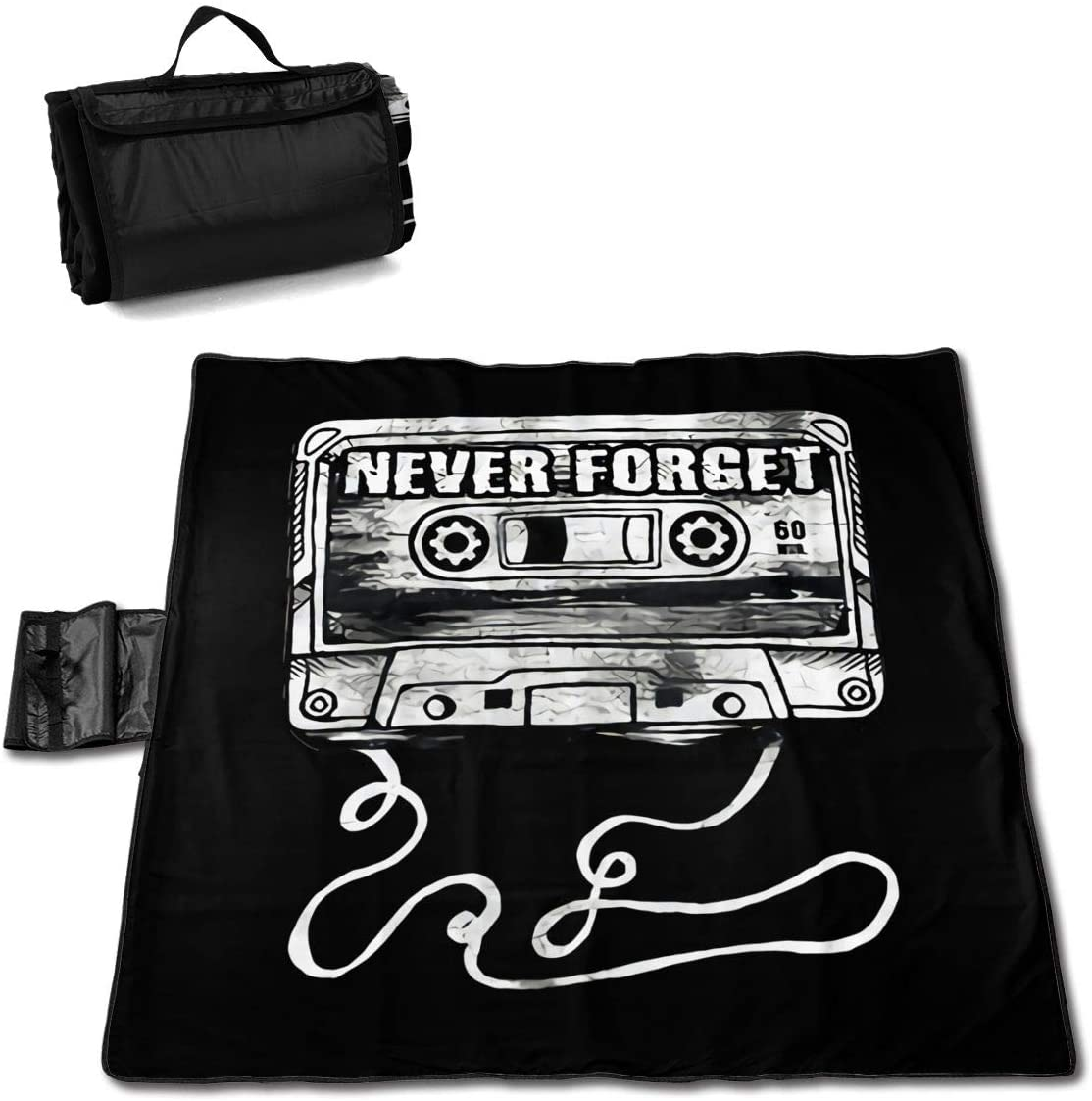 Htu Never Forget Graphic Funny Portable Printed Picnic Blanket Waterproof 59x57(in)
