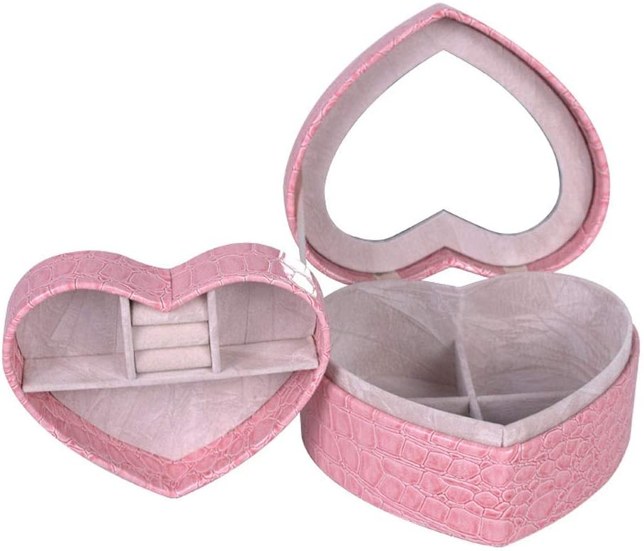 Jewelry Box Organizer Display 2 Layers Heart Shape Accessories Storage Case with Mirror Leather Design Jewelry Makeup Holder for Women Girls Holder for Earring Ring Necklace Bracelet Storage poi