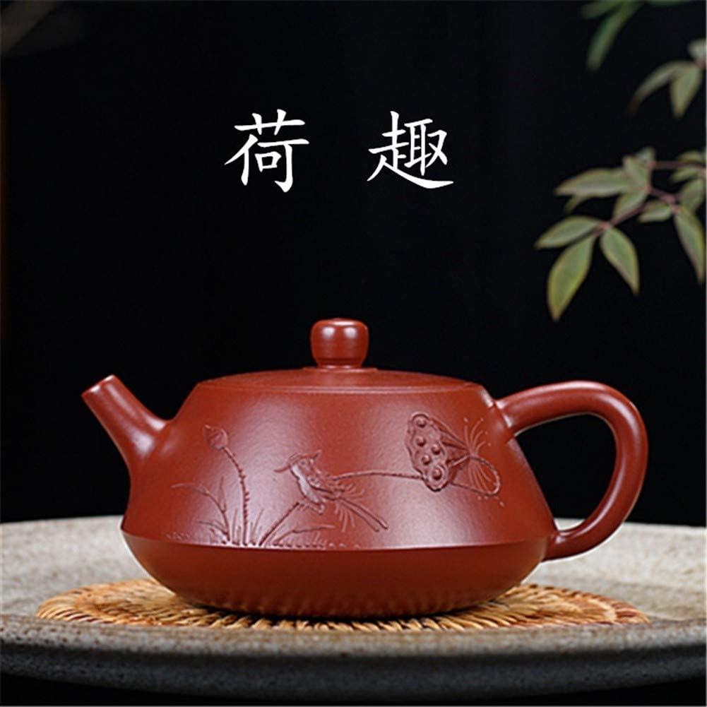 QinMei Zhou Manual ore famous Big Red stone scoop teapot tea gift (Color : Claret)