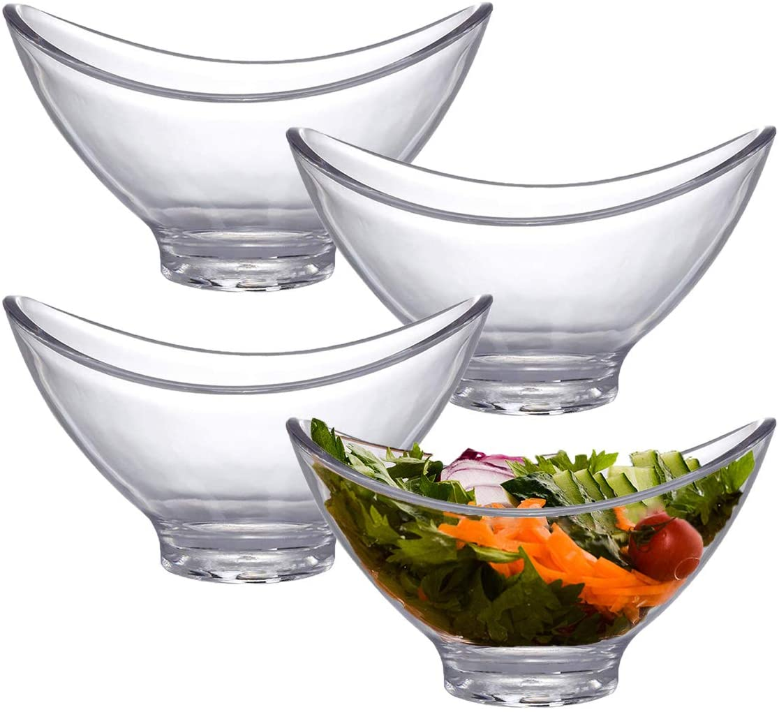 Bekith 4 Pack Plastic Serving Bowls, Clear Acrylic Party Snack Salad Disposable Bowl for Kitchen Prep, Dessert, Dips, Candy Dishes