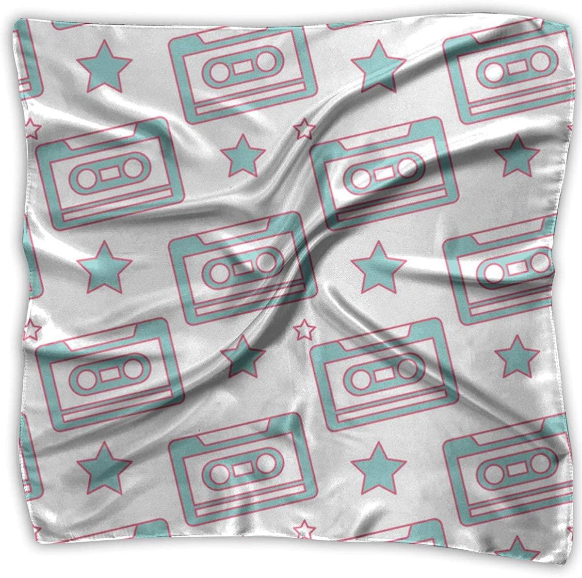 Pattern Retro Cassette Tape Square Handkerchiefs Shawl Bandanas Headscarf Neckerchief Headband