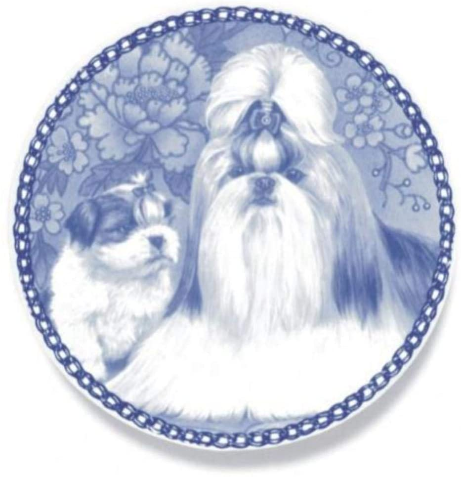 Shih Tzu - Dog Plate made in Denmark from the finest European Porcelain. Premium Quality and Design from Lekven. Perfect Gift For all Dog Lovers. Size - 7.61 inches.