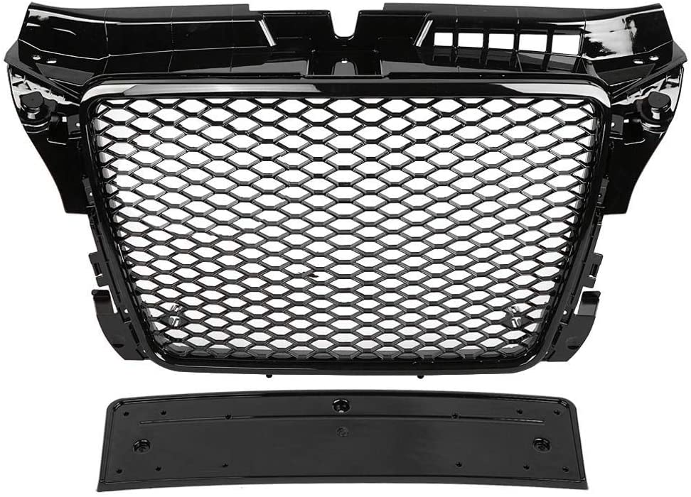 Hex Mesh Honeycomb Hood Grill RS3 Style Car Front Sport Hex Mesh Honeycomb Bumper Grills Gloss Black for A3 / S3 8P 2009 2010 2011 2012