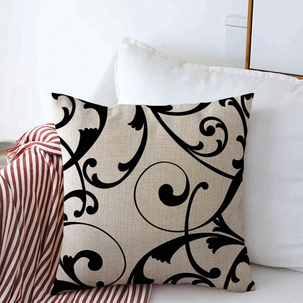 Starofeb Throw Pillow Case Curve Vine Vintage Baroque Scroll Pattern Graphic Line Border Swirl Damask Black Design Modern Farmhouse Decorative Cushion Pillows Pillowcase 18x18 for Home Decor