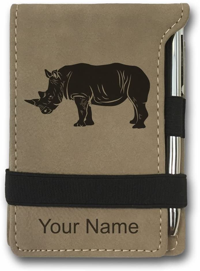 Mini Notepad, Rhinoceros, Personalized Engraving Included (Light Brown)