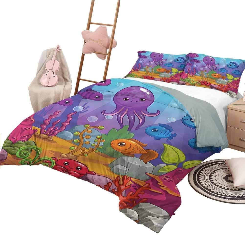 Nomorer Bedding Sets Full Size Whale Custom Bedding Machine Washable Underwater World Aquarium