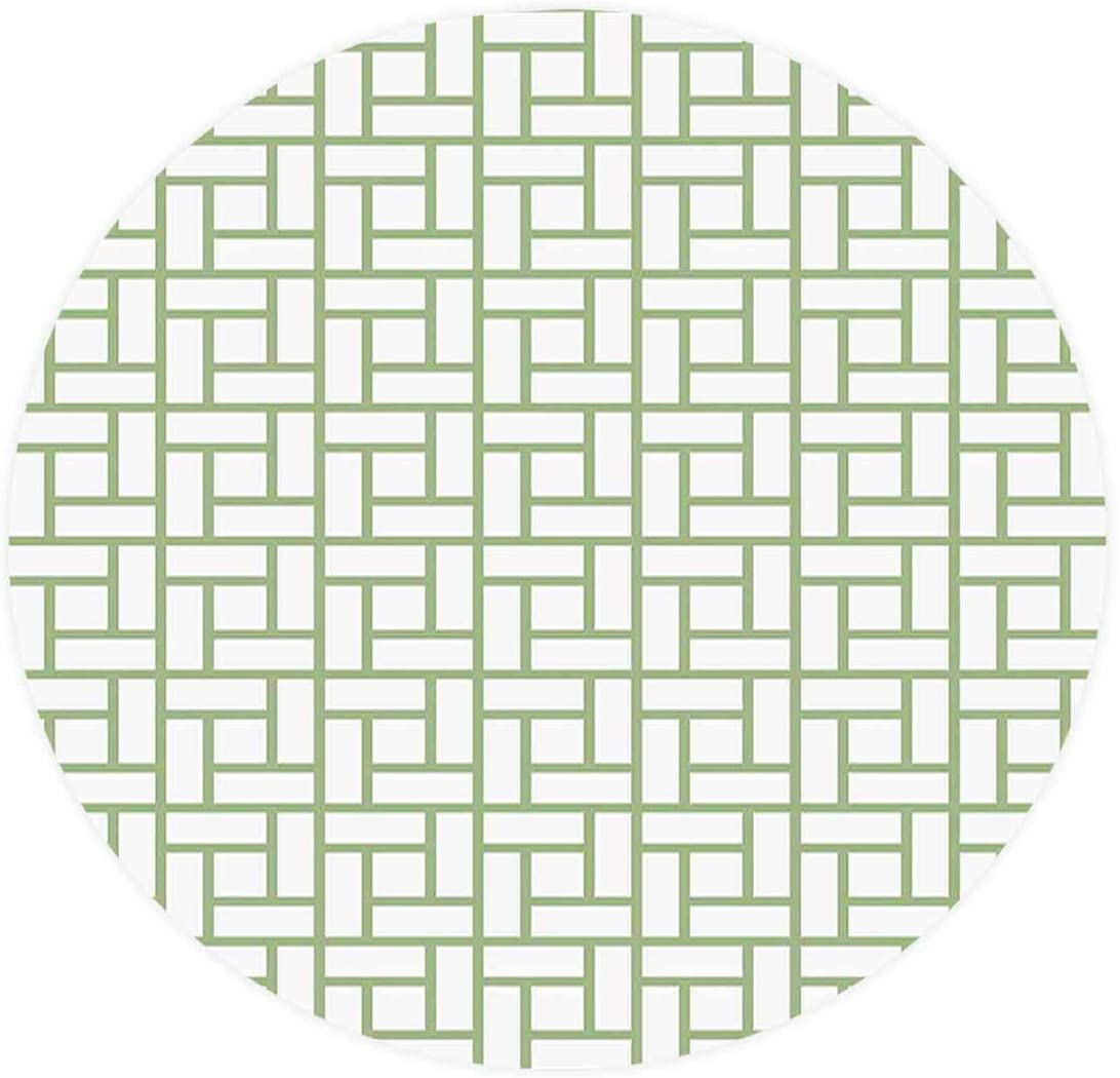 Elastic Edged Polyester Fitted Table Cover GreenMaze Shaped Squares Rectangularsal Lines Modern Image,Fits up Diameter 36