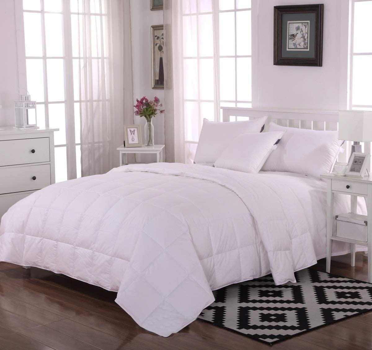 Eastwarmth Goose Down Comforter Queen Size 100% Organic Cotton Shell, Lightweight Duvet/Blanket 650+Filling Power White