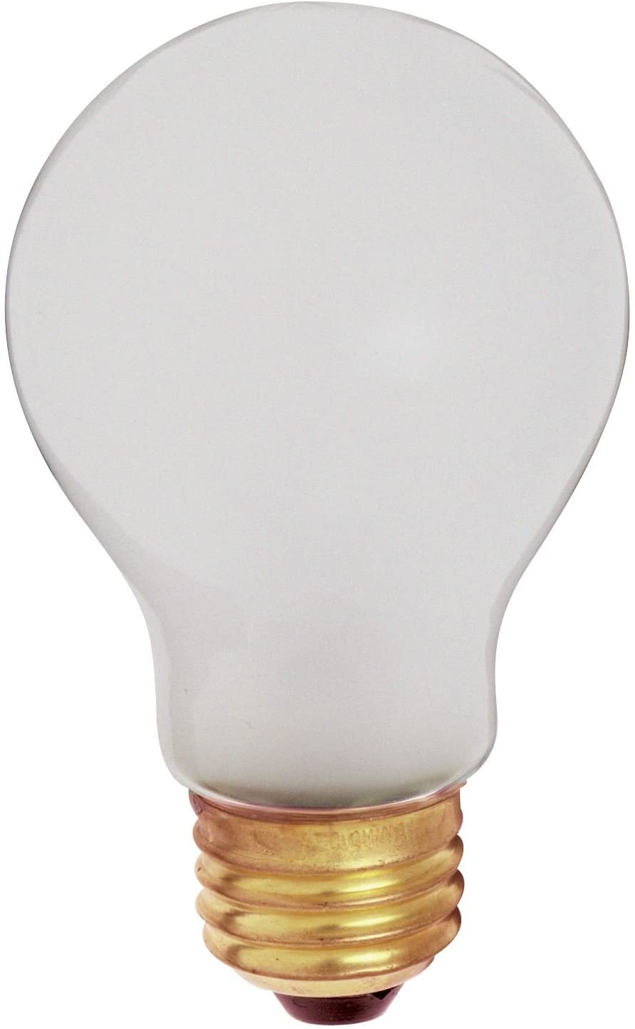 Satco 60A/RS/TF/2PK Incandescent Shatter Proof, 60W E26 A19, Frosted Bulb [Pack of 12]