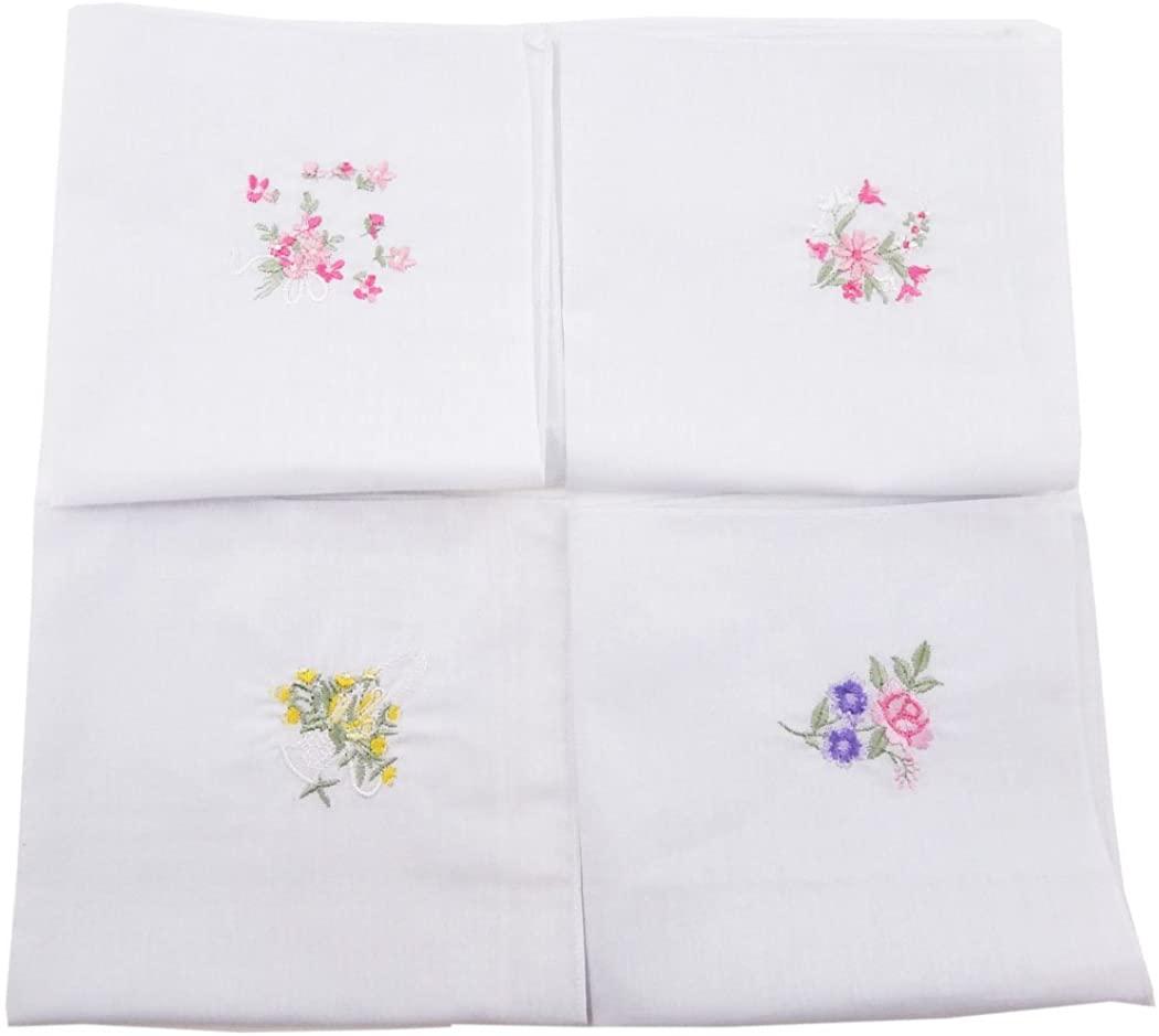 OWM Handkerchief Dozen Floral Embroidered Cotton Ladies Handkerchiefs Bulk