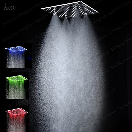 GOWE No Need Electrical Power 20 inches Big Stainless Steel Hydro Power led rain Mist Shower Head