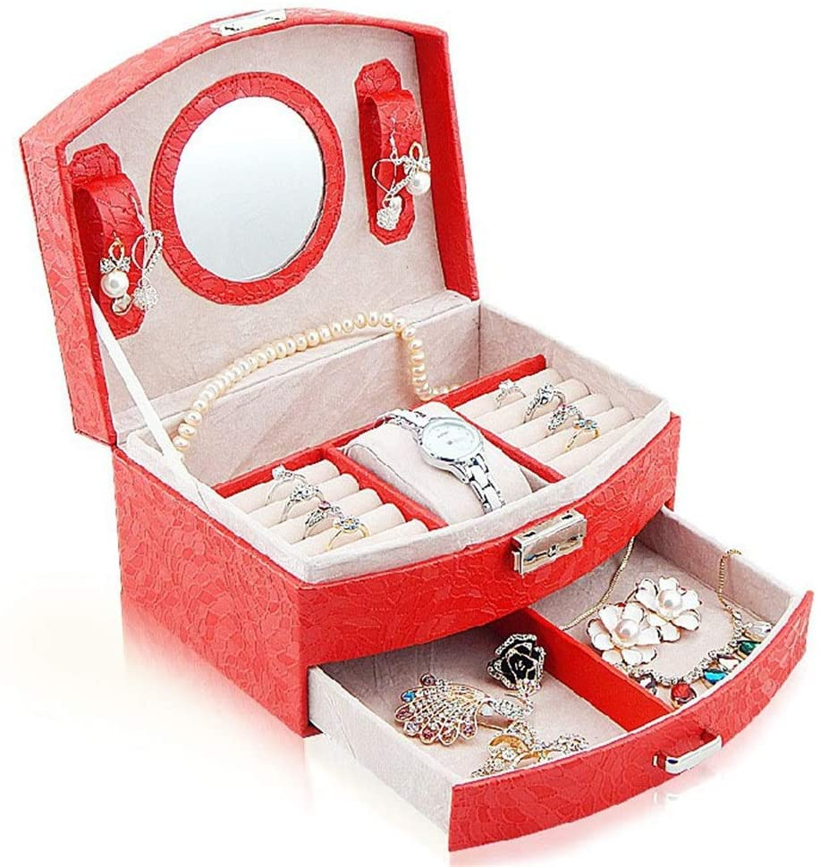 PUEEPDEE Jewelry Box Jewelry Box Organizer Showcase Lock Locker Fashion Exquisite Leather Jewelry Box Handmade Travel Jewelry Box Storage Box Rack Jewelry Box for Girls (Color : Red)
