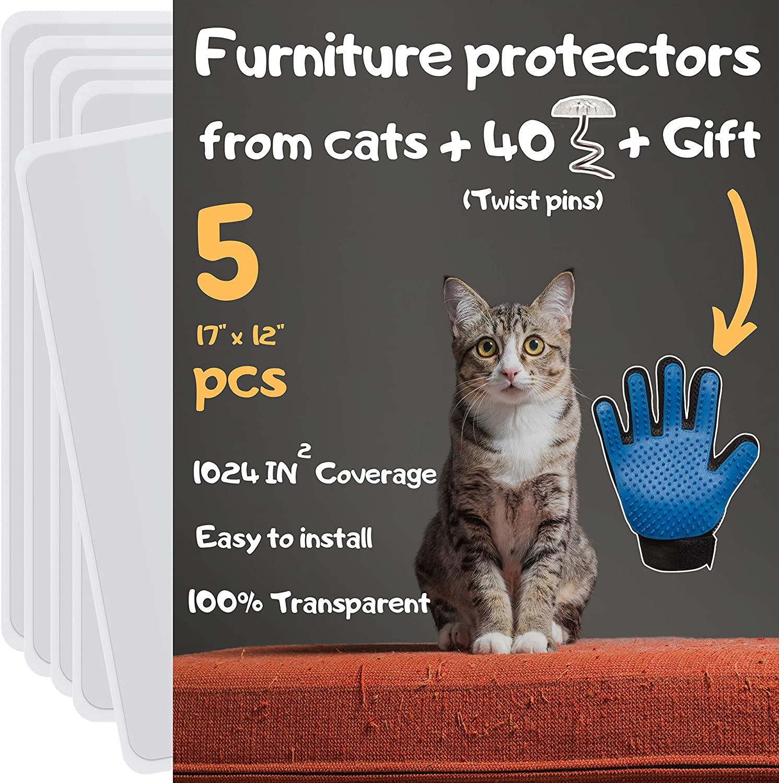 Cat Scratch Furniture Protector - Furniture Protectors from Cats, Couch Protectors from Cats Scratching, Furniture Protection from Cat Scratching, Includes Grooming Glove