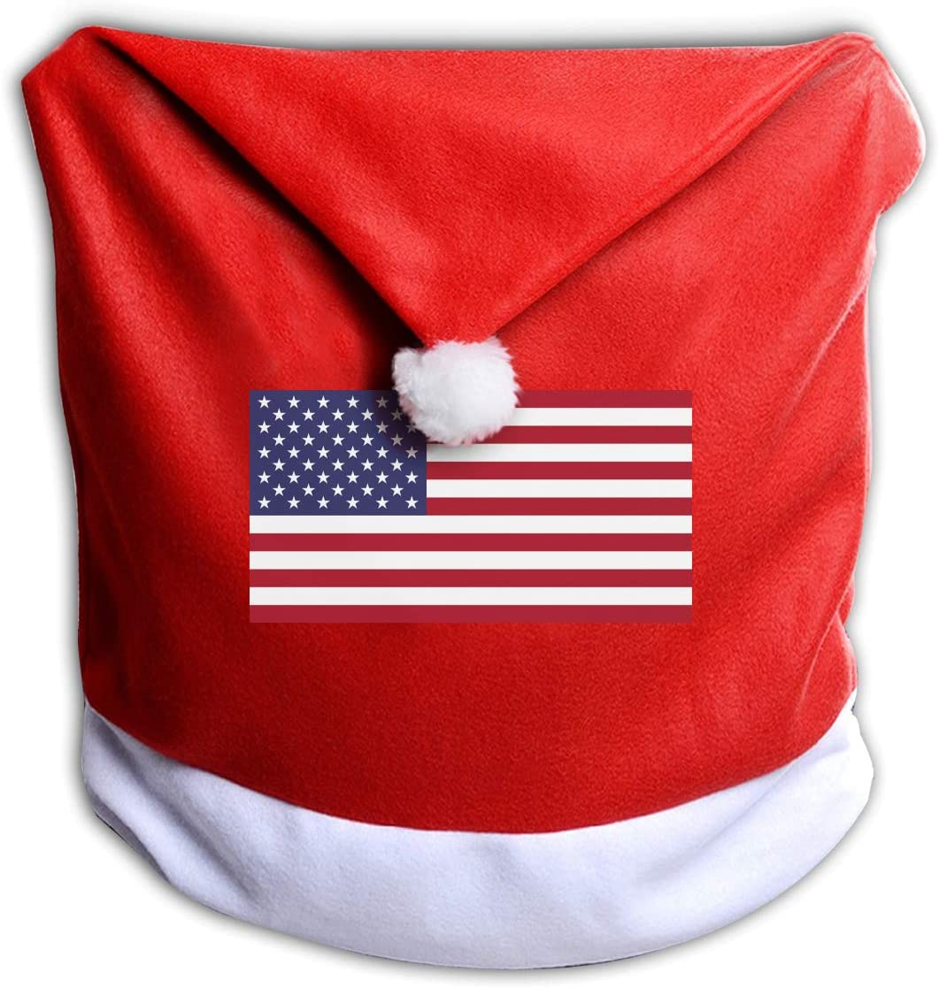 ZHANGBAOSHENG Flag of The United States Christmas Seat Cover Christmas Chair Cover Santa Hat Chair Covers