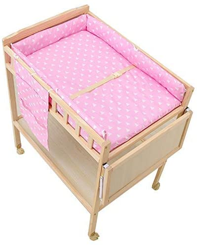 Nursery Mobile Baby Changing Table - Girl Boy Toddler Wooden Dresser Station with Storage, Large Countertop, Easy Assemble, 60×84×100cm