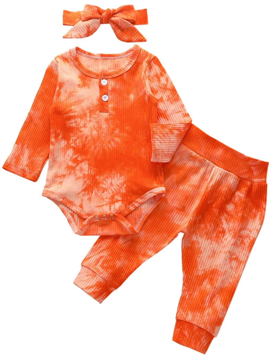 Newborn Baby Boys Girls Outfits Leisure Wear,Tie-Dye Long Sleeve Baby Romper + Trousers+ Headband