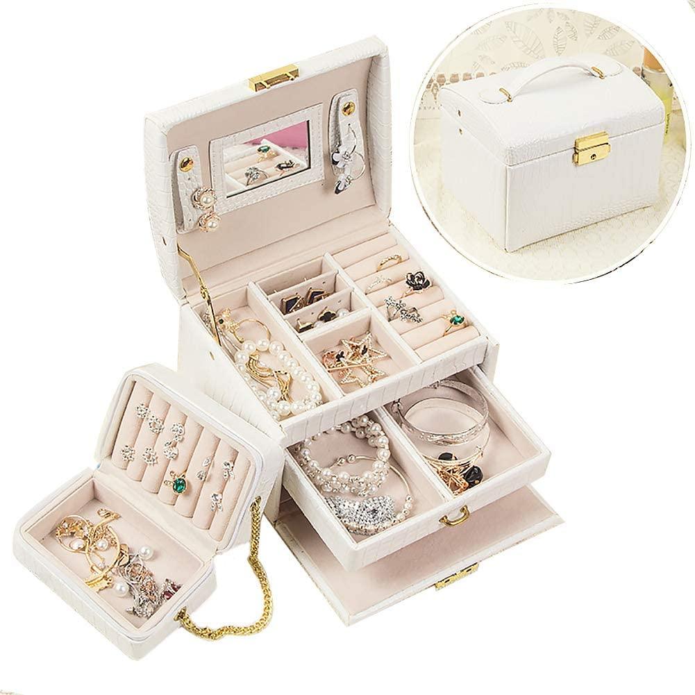 XM&LZ 3 Layers Jewelry Case,Portable Large Capacity Jewelry Organizer,pu Leather Jewelry Box with Mirror,Built in Mini Travel Jewelry Box White 17x14x13cm(7x6x5inch)