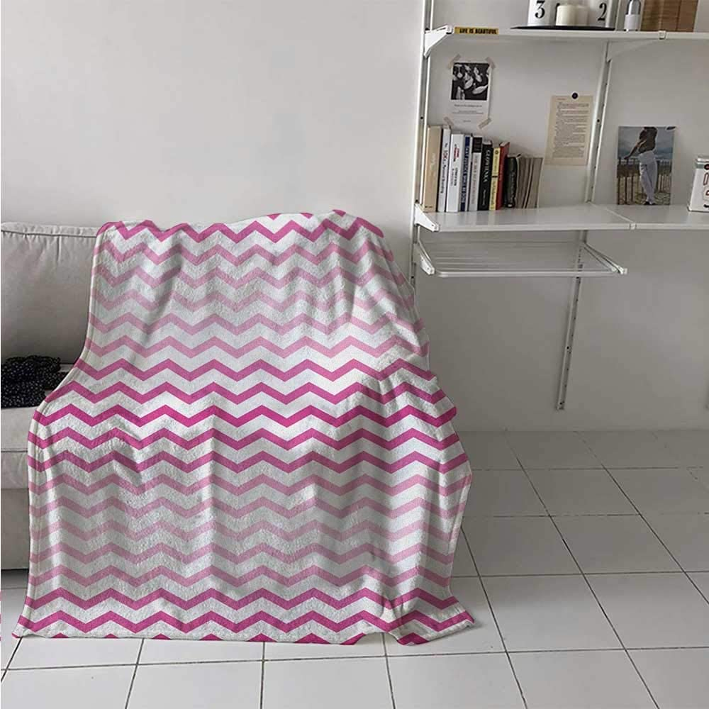 painting-home Breathable Blanket Chevron Zigzag Pattern with Twisted Parallel Lines in Vibrant Tones Graphic Lightweight Warm Blankets for Kid Baby Toddler Teenager Magenta White 60 x 70 Inch