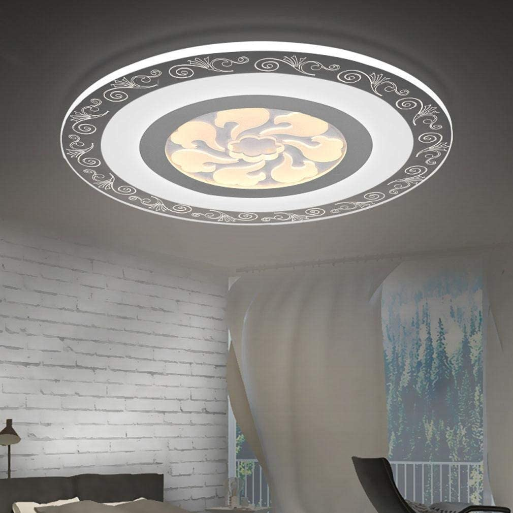 BOSSLV Led Ceiling Light Remote Control Design Round Ceiling Lamp Modern Creative Acrylic Iron Chandelier Parlor Dining Hall Bedchamber Study Ceiling Lighting 40CmH5Cm Dimming 3000K-6000K