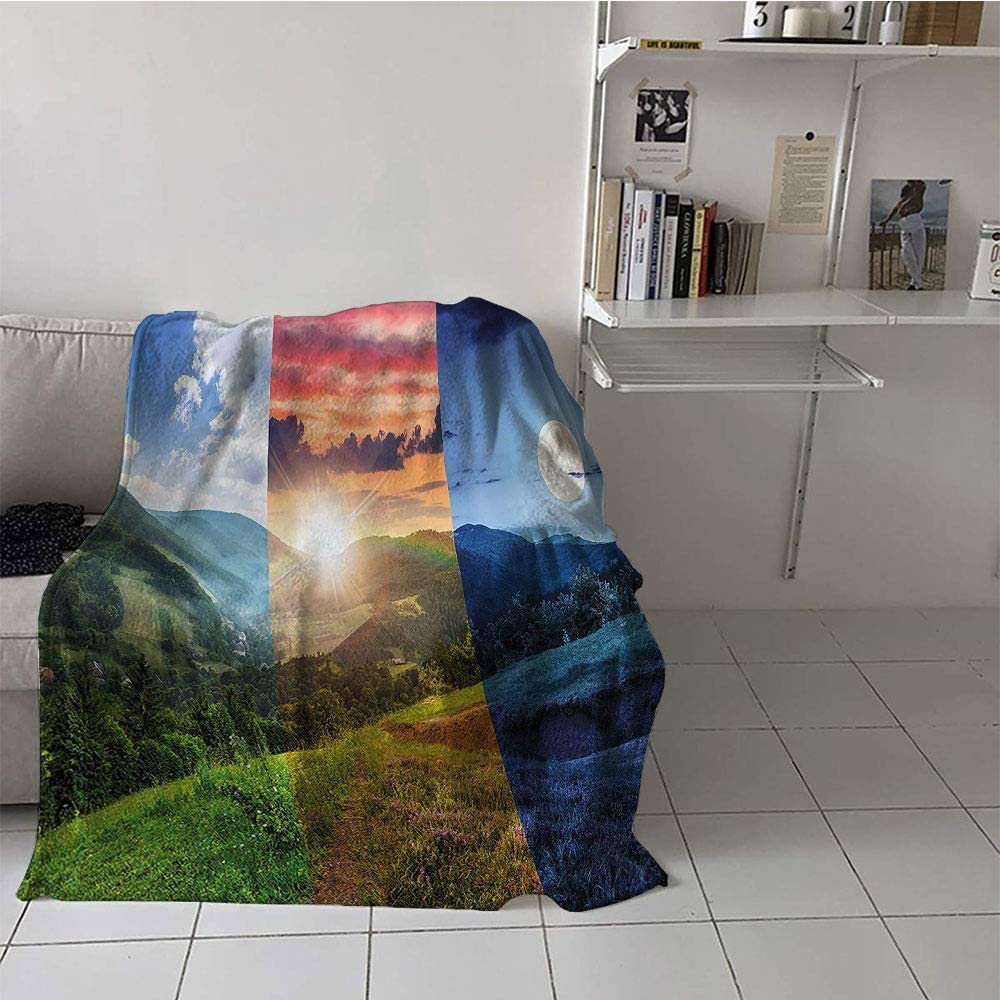 SunsethomeDeco Children's Blanket Toddler All Season Blanket (50 by 60 Inch,Apartment Decor,Foggy Mountain Forest View in Various Times of The Day Idyllic Nature Collage,Multi