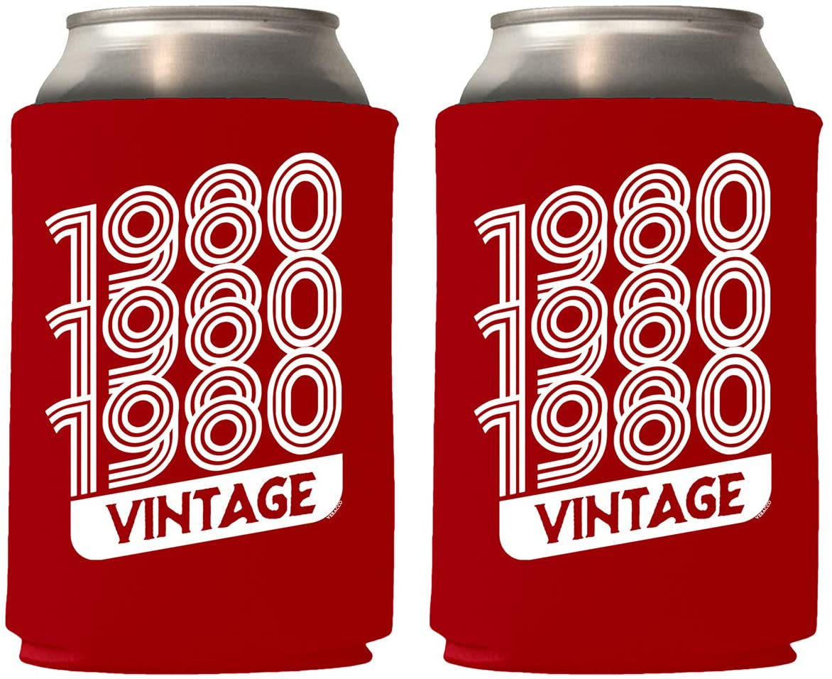 Veracco 1980 1980 1980 Vintage Can Coolie Holder 40th Birthday Gift Forty and Fabulous Party Favors Decorations (12, Red_)