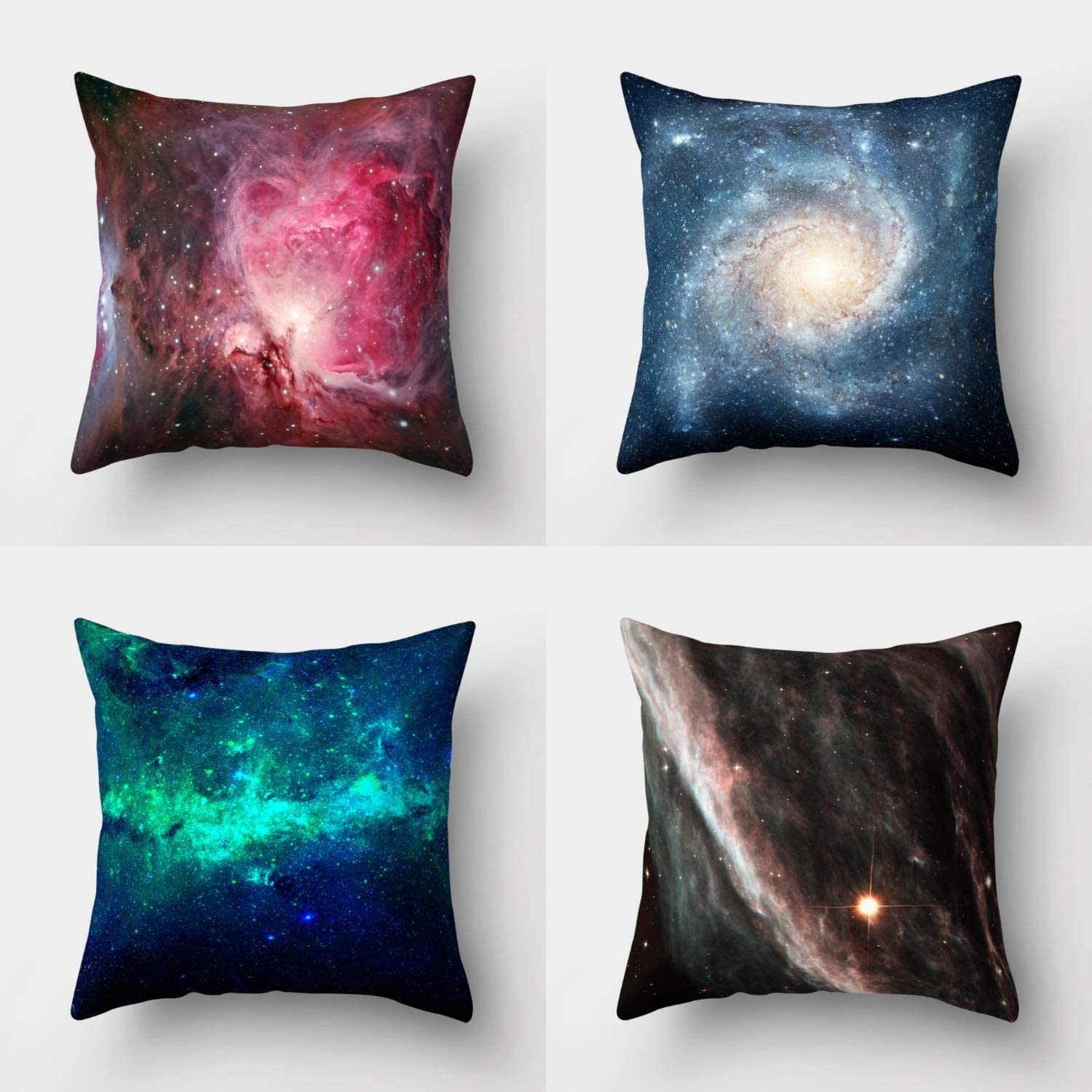 Whim-Wham Set of 4 Throw Pillow Covers Psychedelic Star Planet Celestial Body Aurora Mysterious Red Blue Green Brown Gray Cotton Linen Fabric Pillowcases for Sofa Bedroom Car 18x18/45cm x 45cm.