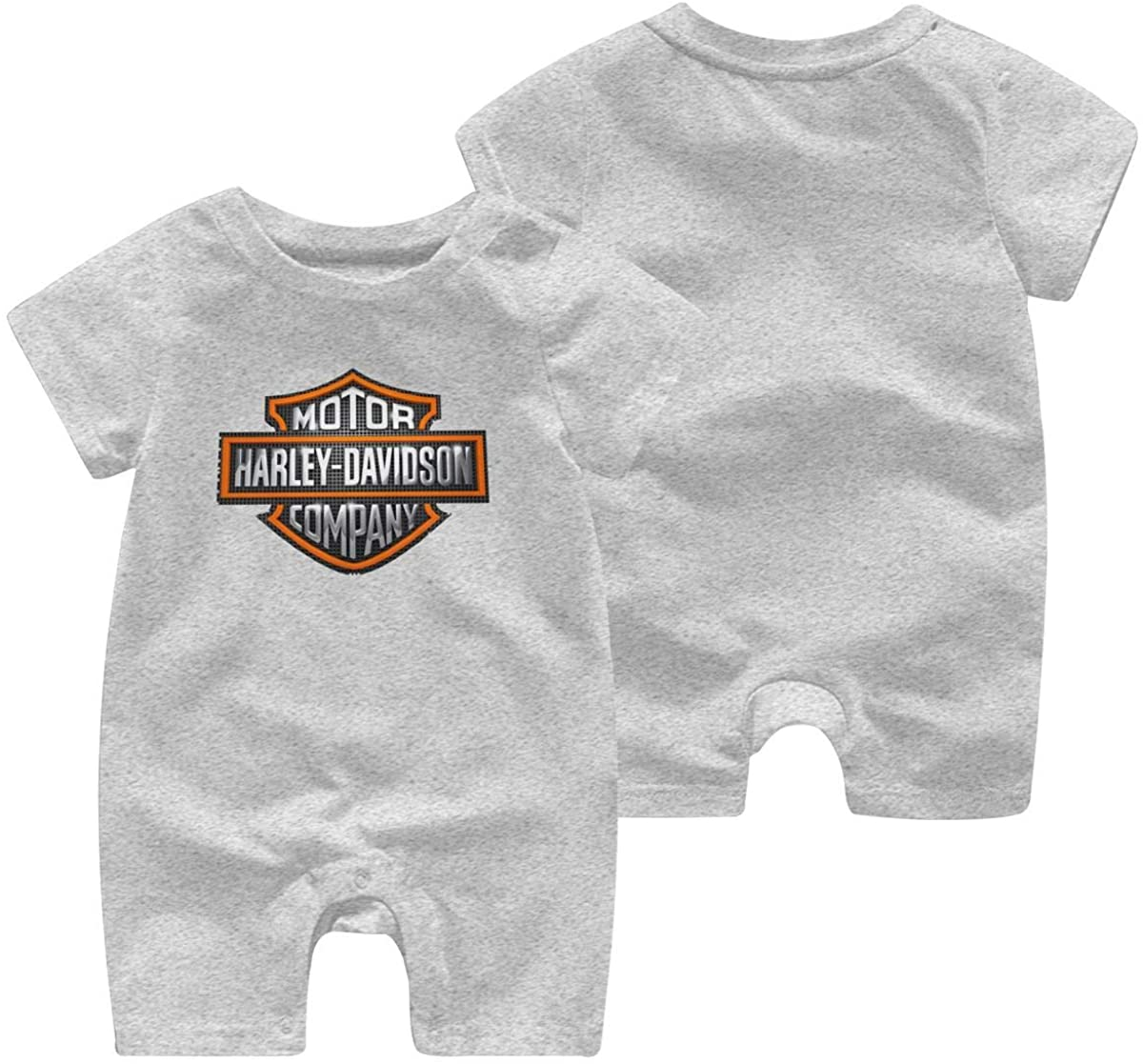 Harley Davidson One Piece Outfits Baby Solid Color Rompers with Button Kids Short Sleeve Playsuit Jumpsuits Cotton Clothing 2t Gray