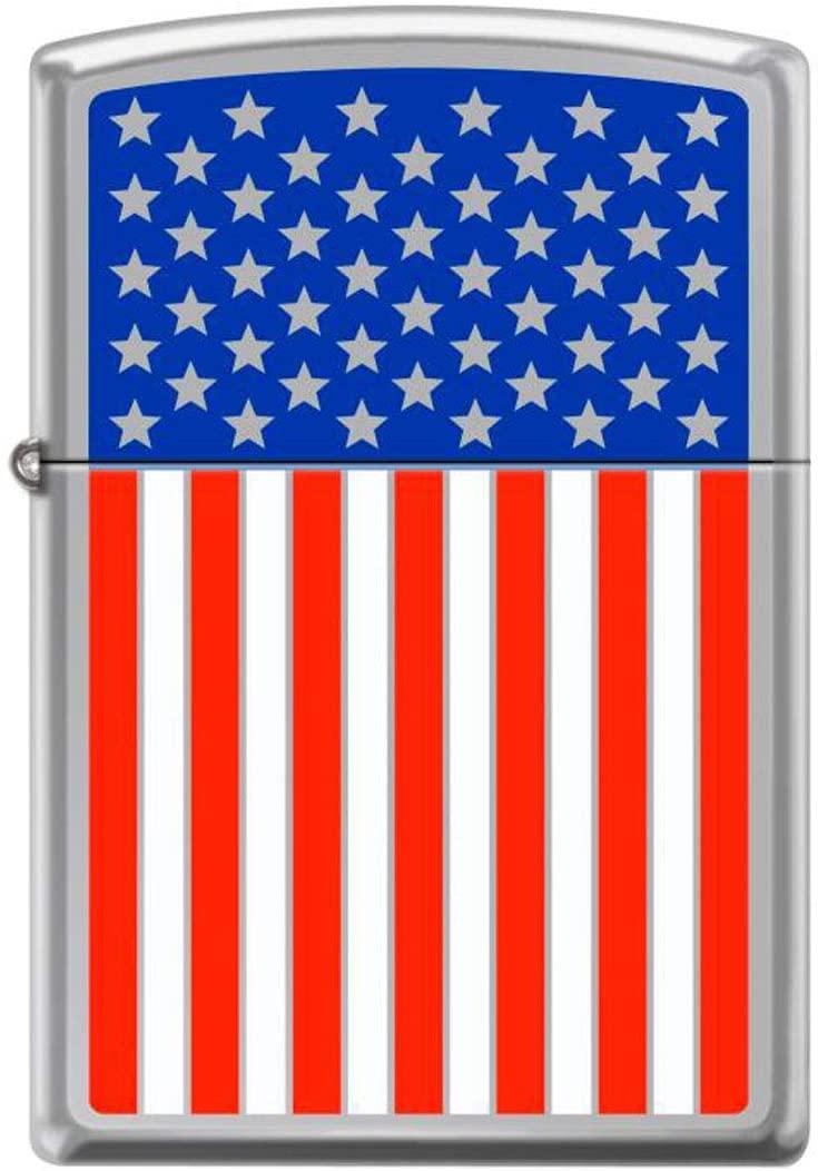 American Flag Color Image High Polished Chrome Patriotic Zippo Lighter