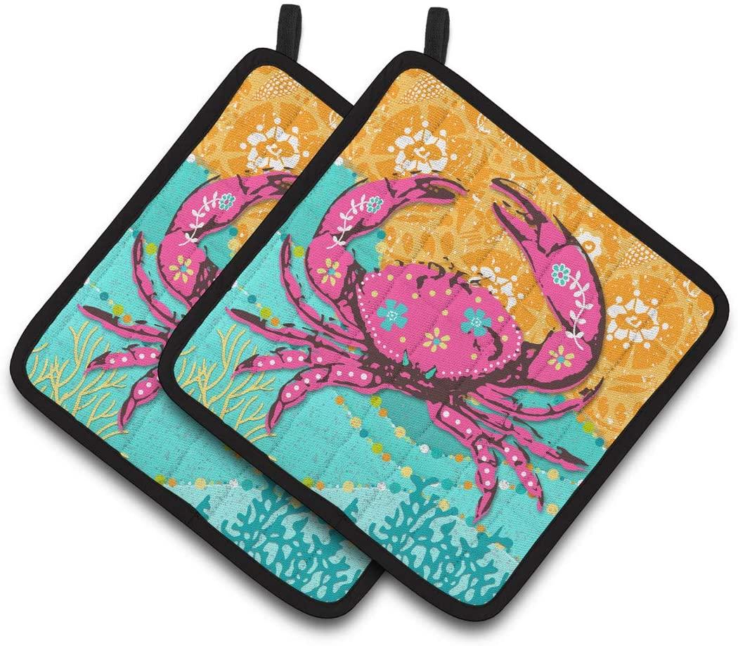 Caroline's Treasures VHA3028PTHD Coastal Pink Crab Pair of Pot Holders, 7.5HX7.5W, Multicolor