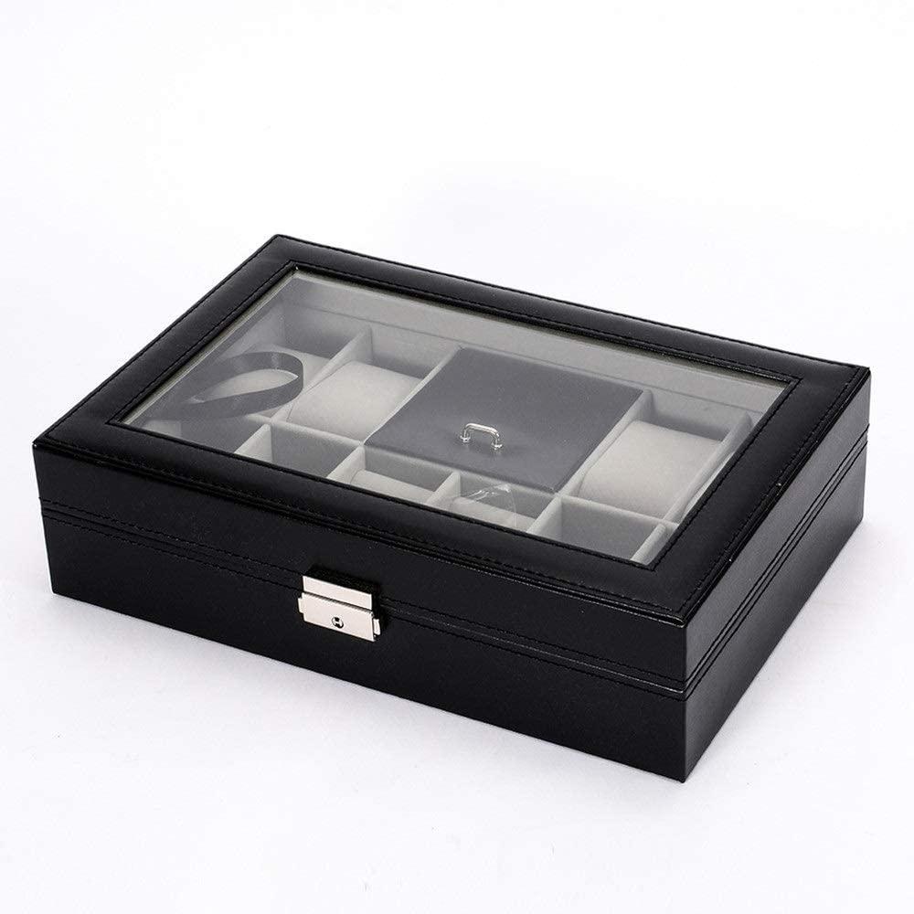 PUEEPDEE Jewelry Box Leather Jewelry Box Display Storage Case Watch Storage Black Jewelry Box for Girls (Color : Black, Size : 3020.28cm)