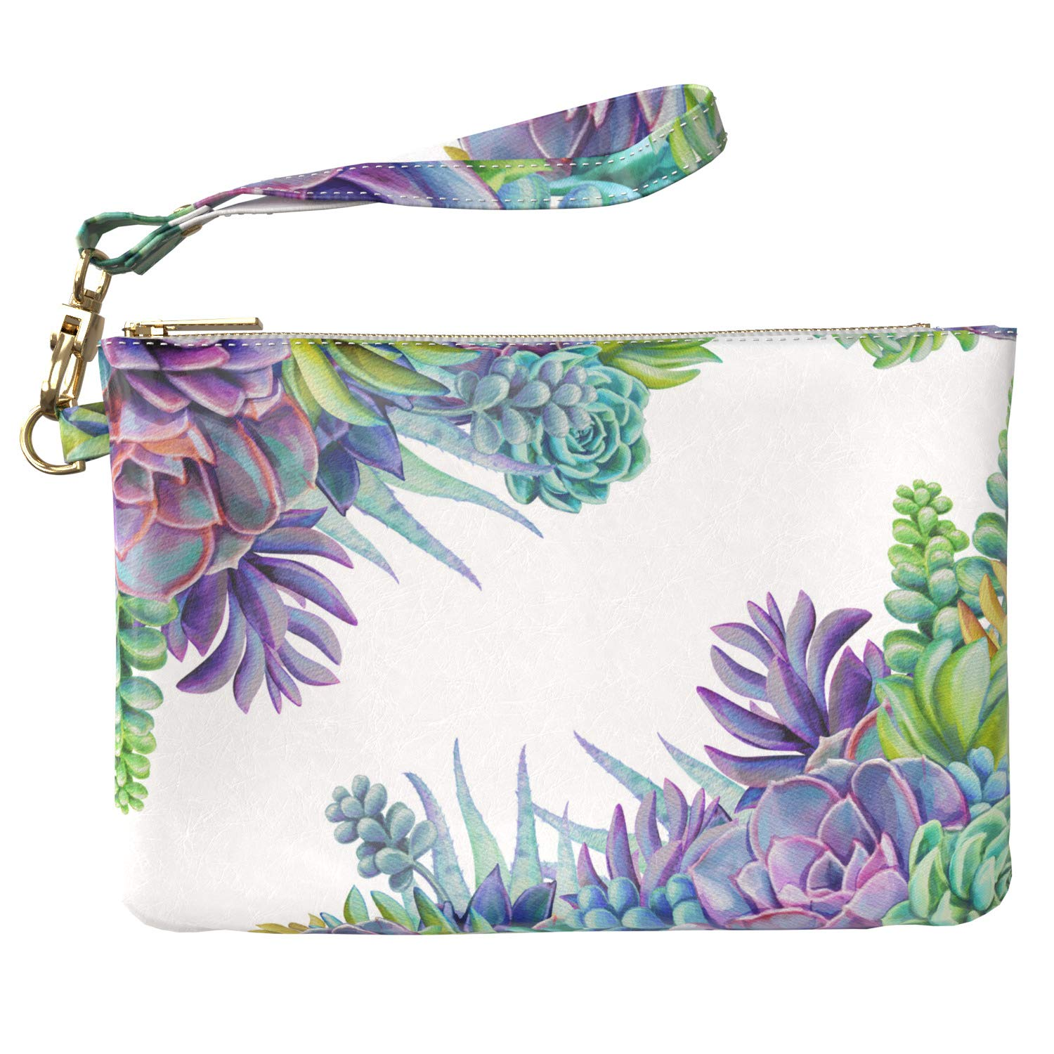 Cavka Makeup Bag 9.5 x 6 inch Flowers Floral New Cosmetic Print PU Leather Toiletry Zipper Travel Case Storage Succulent Stylish Cactus Purse Pouch Strap Accessories Portable Organizer Design Purple