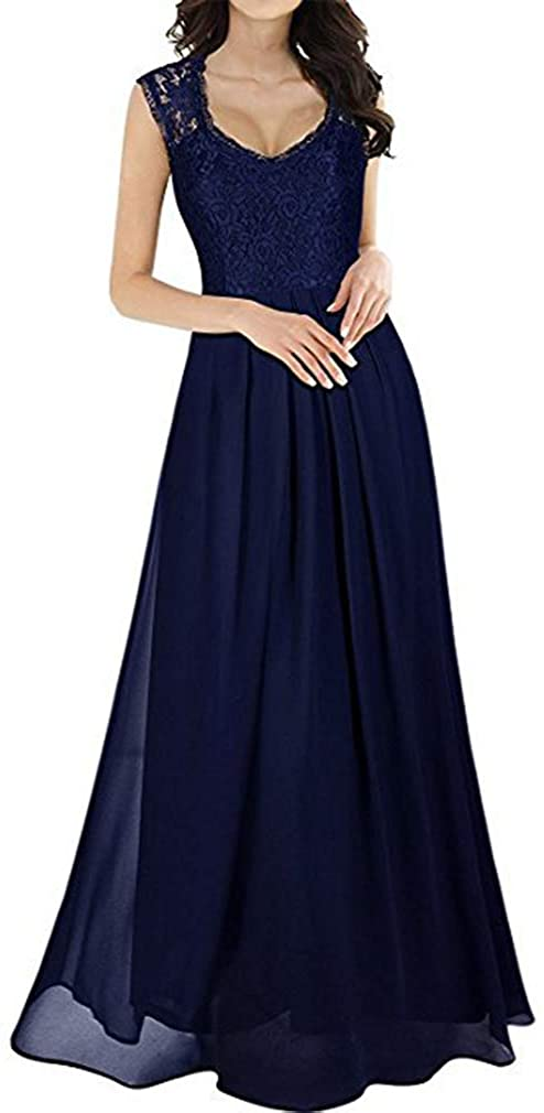 Paixpays Women's Elegant Solid Color Lace Stitching Party Dress Sexy Sleeveless Hollowed Out Maxi Dress