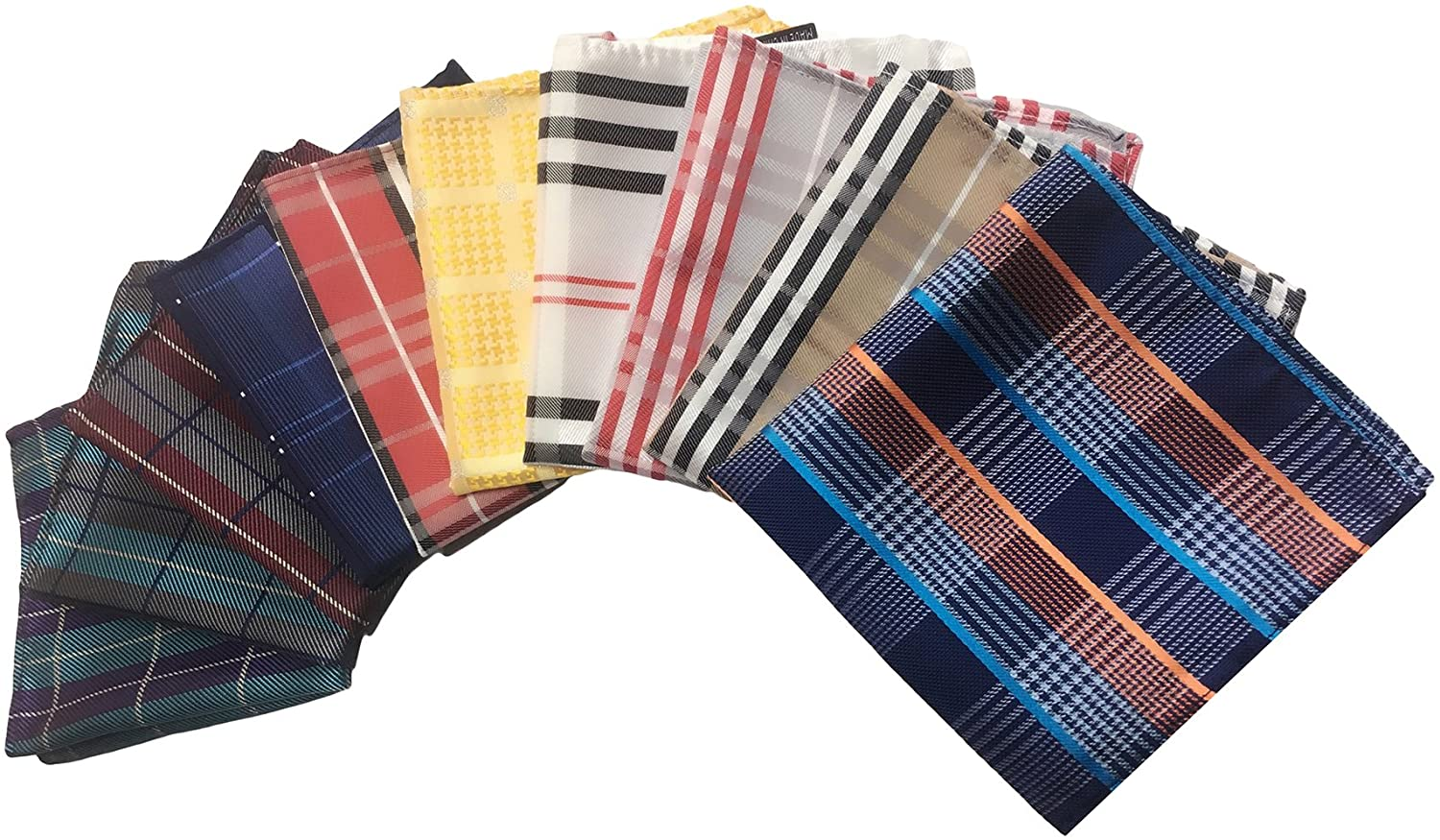 MENDENG Men's 10 Pack Plaid Check Striped Assorted Pocket Square Handkerchief