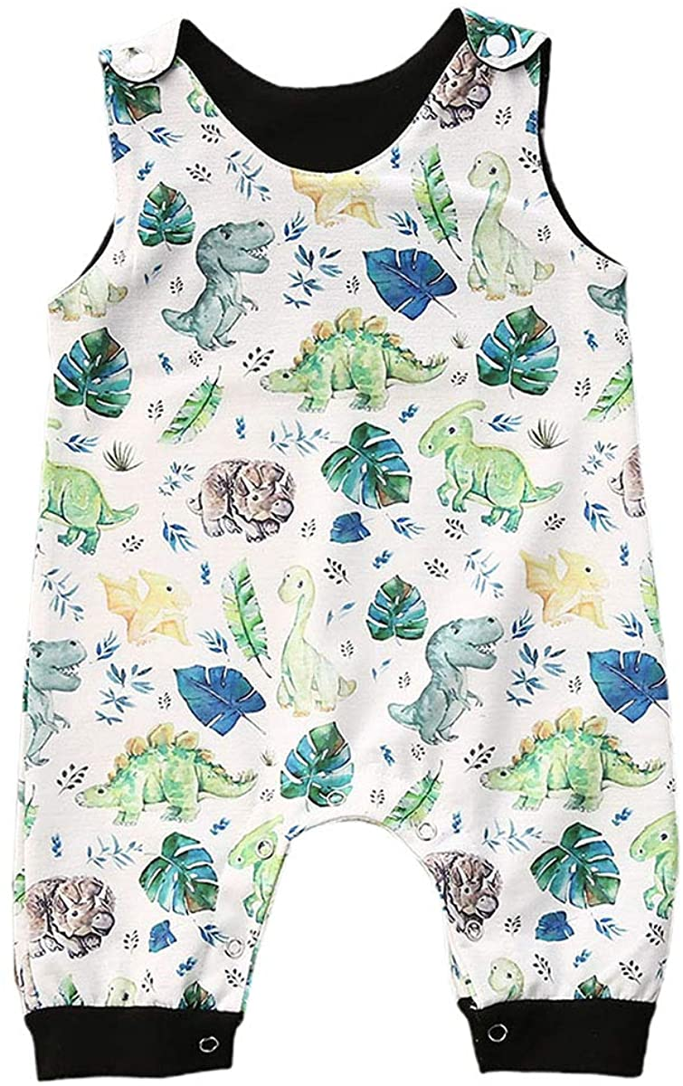 Baby Boy Girl Animal Cartoon Romper Jumpsuit Sleeveless Bodysuit One-Piece Outfits Clothes