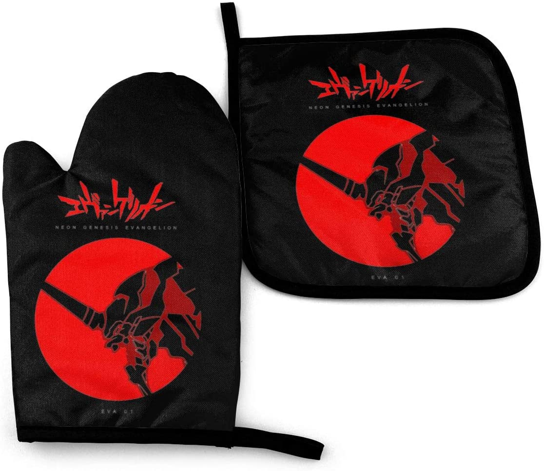 Evangelion Eva 01 Oven Mitts and Potholders Heat Resistant with Cotton Neoprene Silicone Non-Slip Kitchen Set for BBQ Cooking Baking Grilling