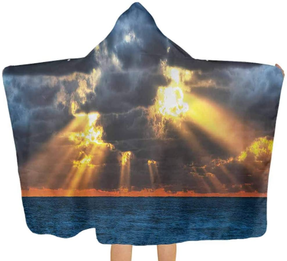 ThinkingPower Hooded Bath Towels Landscape, Dramatic Sunset Clouds Hooded Baby Towel Washcloth for Girls, Toddlers, Infants 51.5x31.8 Inch