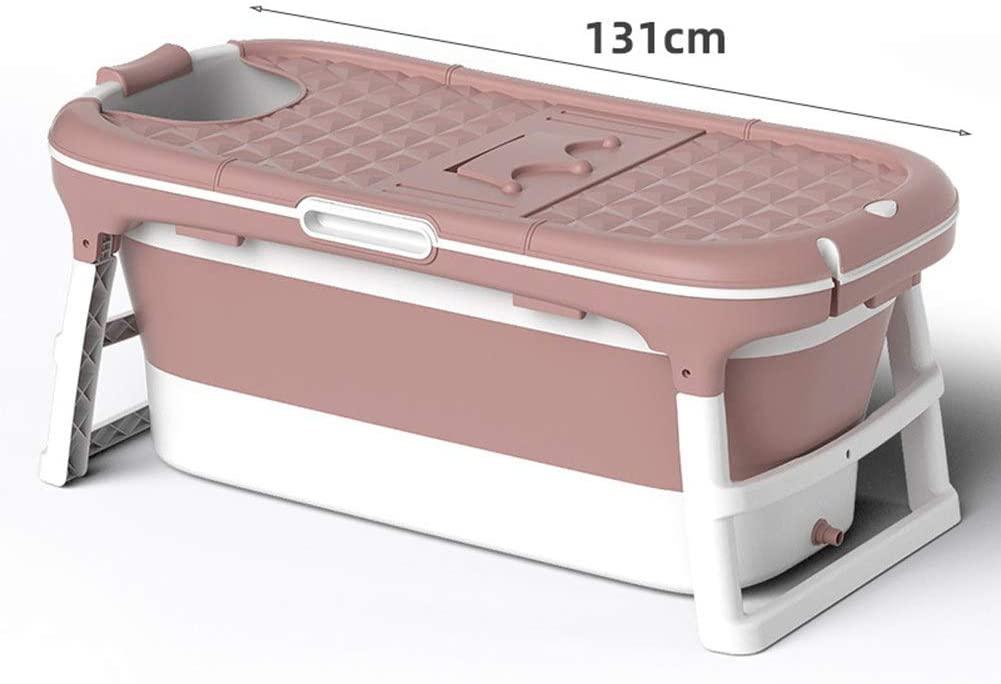 ALGWXQ Shower Bucket for Kid Portable Foldable Bathtub Infant Convenient Children Plastic Barrel Household, with Cover, 2 Sizes, 2 Colors (Color : Pink B)