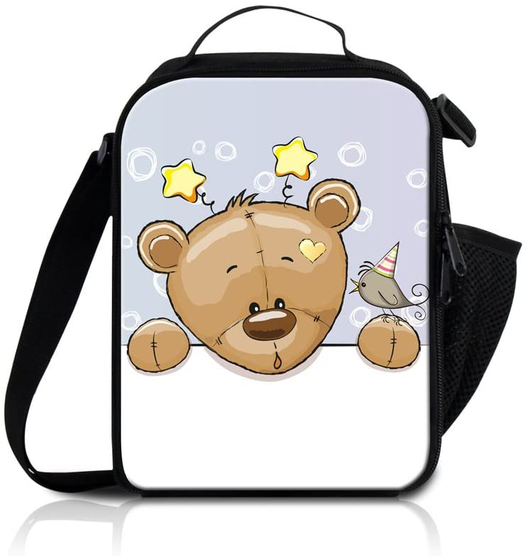 Generic Insulated Cooler Lunch Bag For Kids,Cartoon Bear Mini Lunch Bag Tote for Picnic School Travel