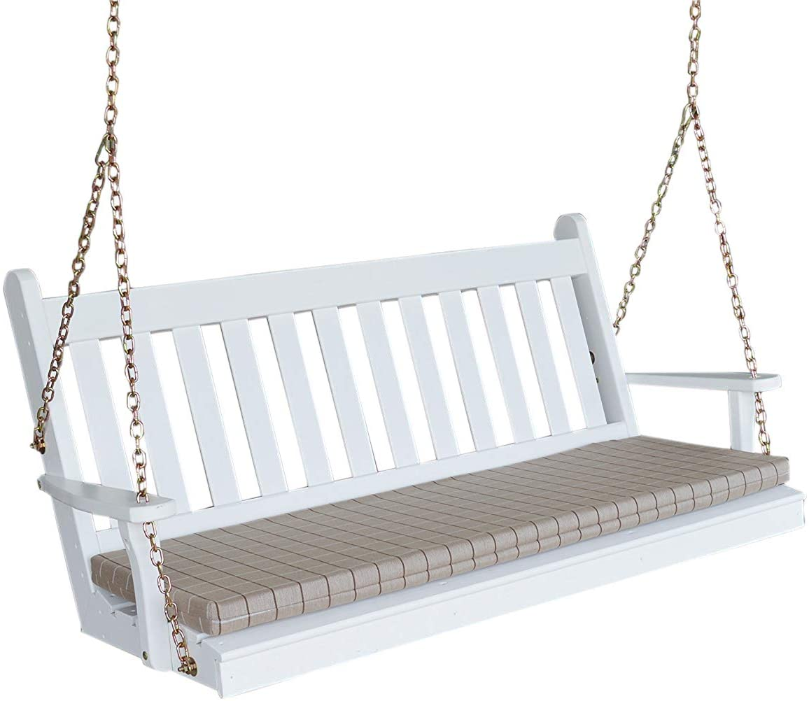 Aspen Tree White Mission Style Porch Swing - Custom Amish Made Hanging Patio Pergola Wood Swings - 2 Person Seat Swinging Bench - 5 Foot Traditional English