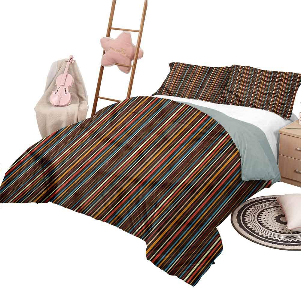 Duvet Cover Pattern Full Size Striped Bedspread Bed Cover for All Season Colorful Vertical Lines