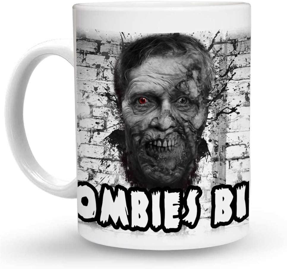 Makoroni - ZOMBIES BITE Zombie 6 oz Ceramic Espresso Shot Mug/Cup Design#26