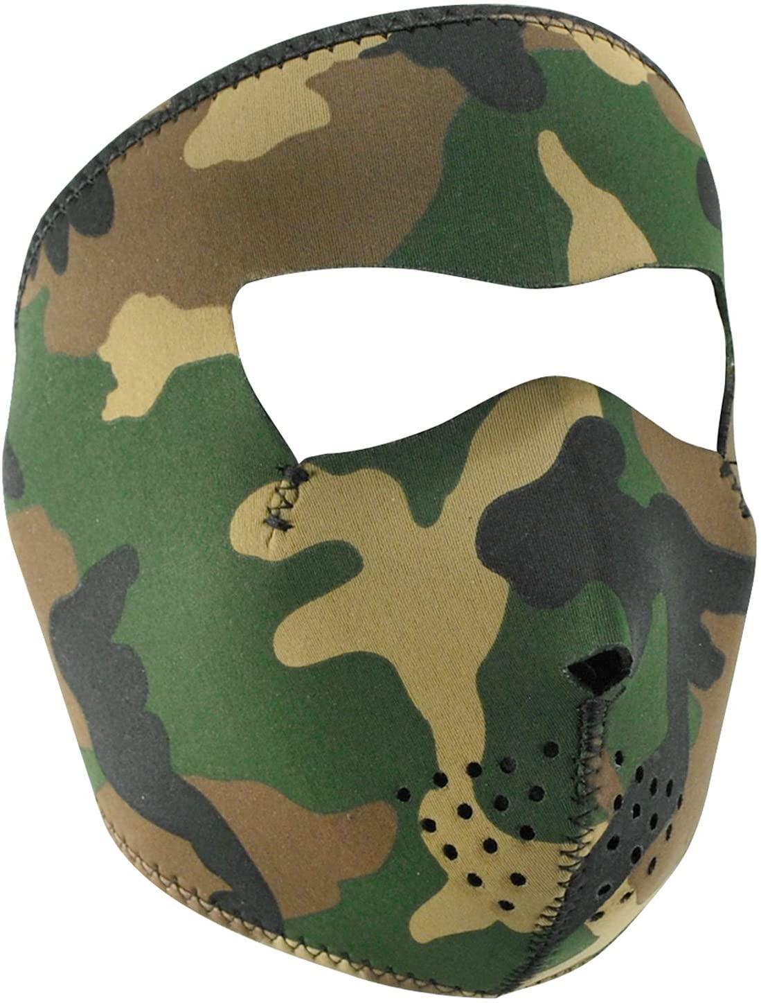Zanheadgear WNFM118 Woodland Camouflage Neoprene Face Mask, Adult/Unisex
