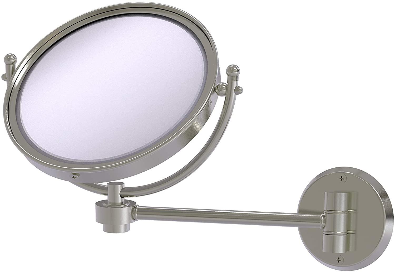 Allied Brass WM-5/4X 8 Inch Wall Mounted 4X Magnification Make-Up Mirror, Satin Nickel