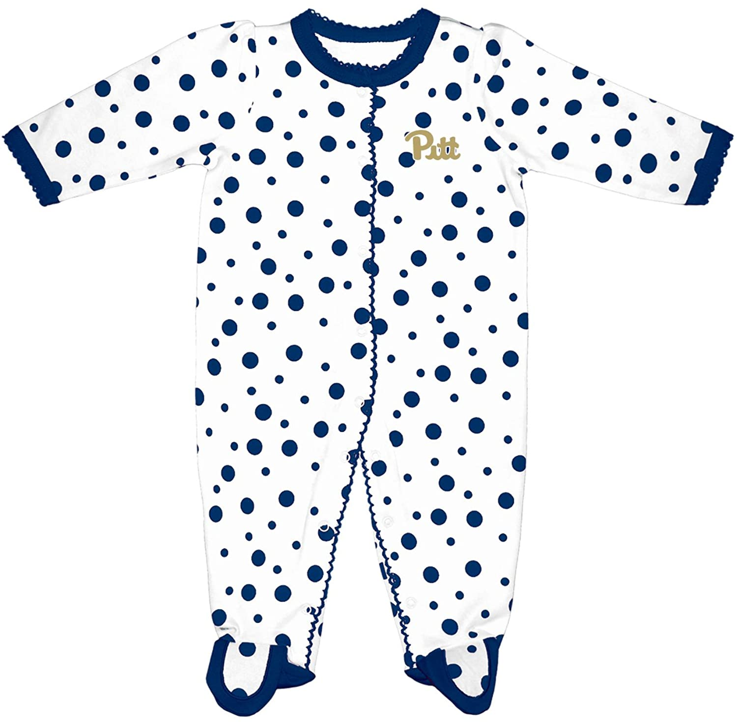 Two Feet Ahead NCAA Pittsburgh Panthers Infant Polka Dot Footed Creeper Dress, 12 Months, Navy