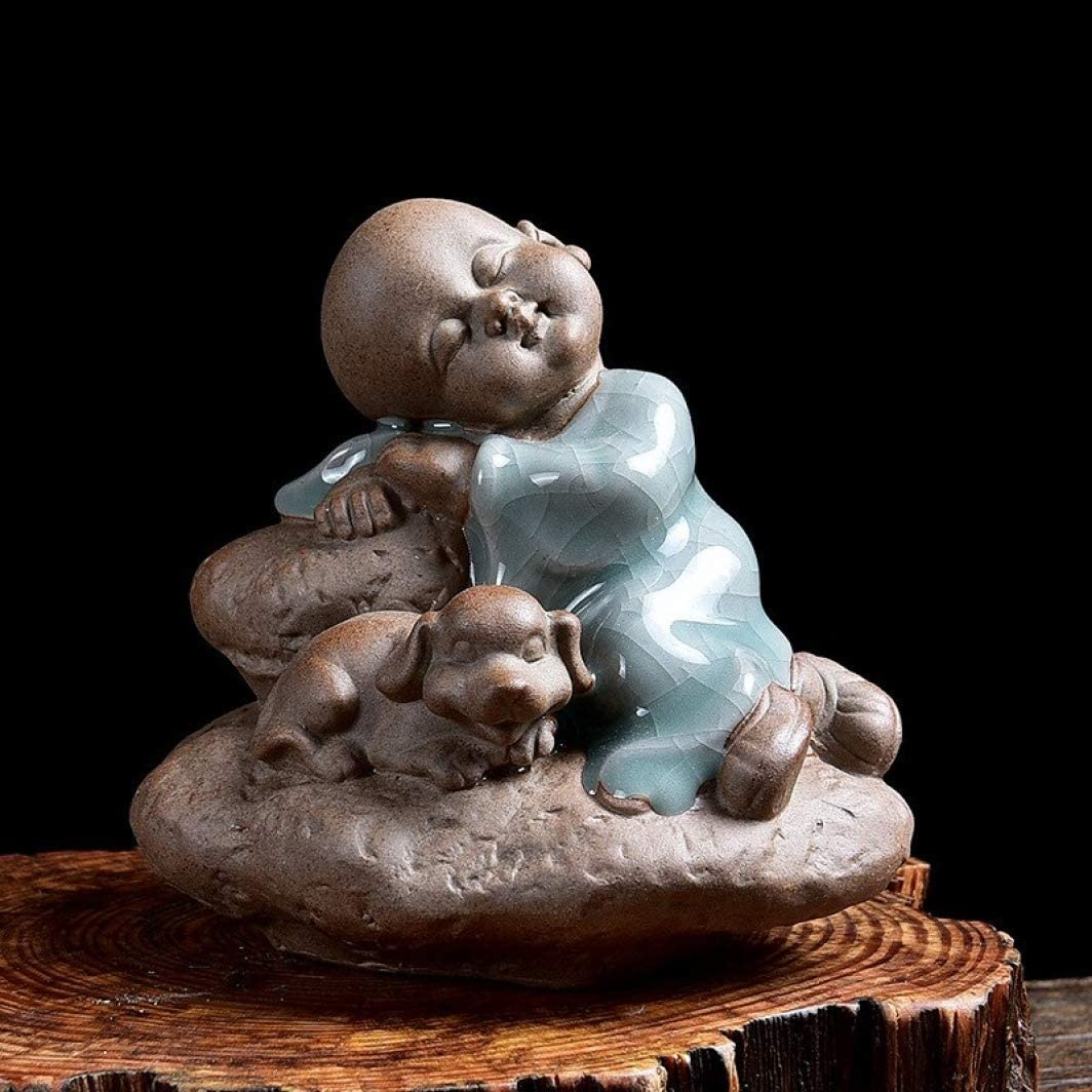 AMITD Little Monk Chinese Style Tea Pet Purple Clay Tea Tray Accessory Small Statue for Home Decor