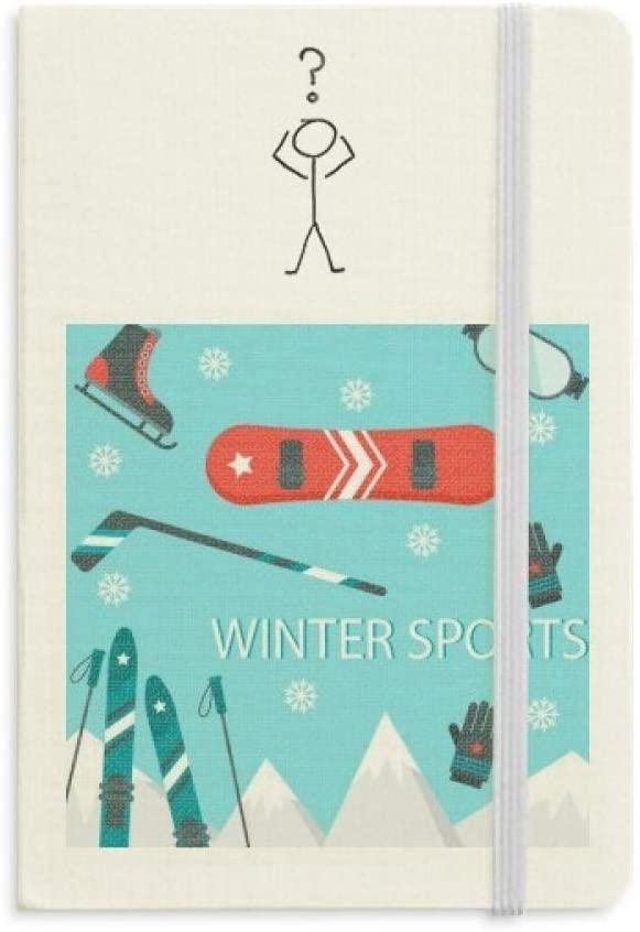 Sport Ski Equipment Cartoon Illustration Question Notebook Classic Journal Diary A5