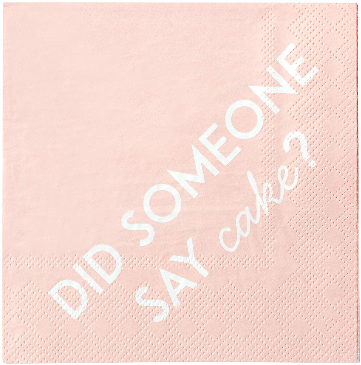 X&O Paper Goods Pink and White 'Someone Say Cake' Beverage and Cocktail  Napkins, 40pc, 5'' W x 5'' L