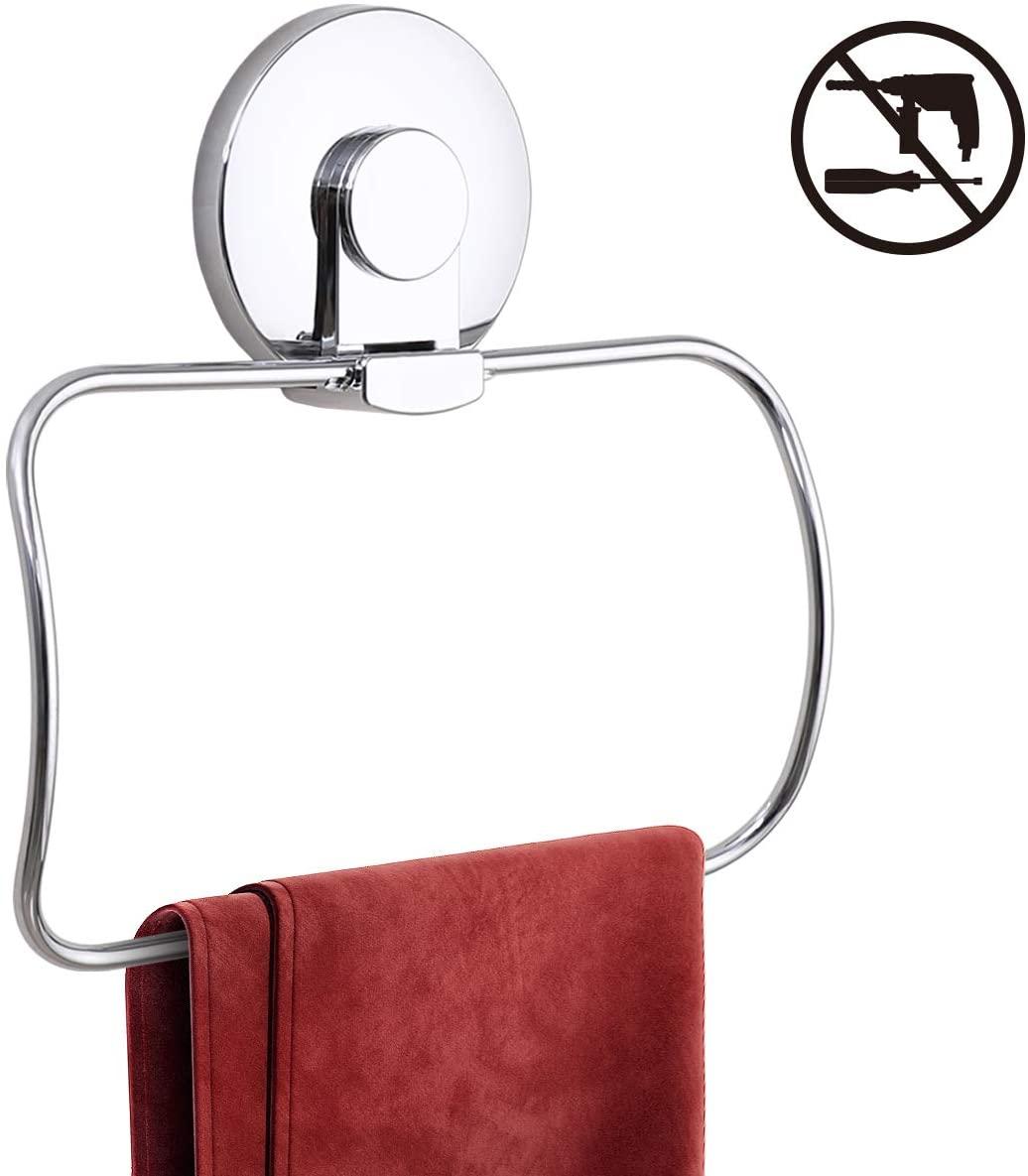 Swamtik NO-Drilling Chromed Towel Rack Suction Cup Hooks Hanging for Bathroom Kitchen