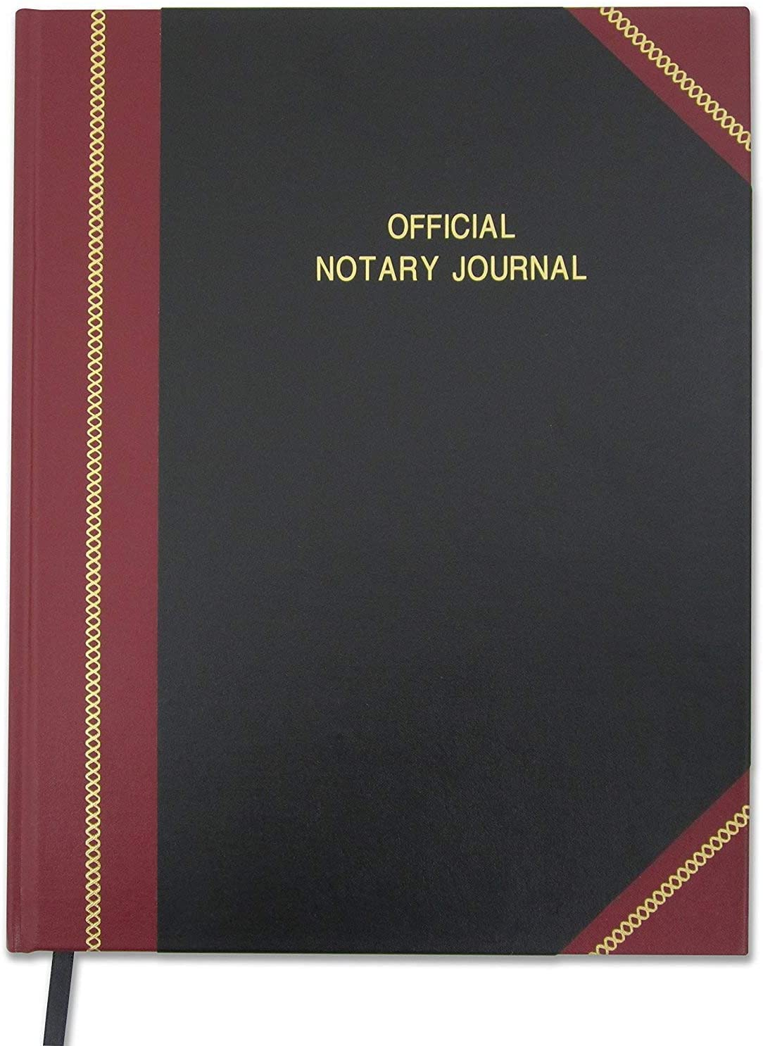BookFactory Official Notary Journal/Log Book 96 Pages 8.5 X 11 380 Entries 50 State Journal of Notarial Acts, Black and Burgundy Cover, Black Ribbon Hardbound (LOG-096-7CS-LKMST71(Notary))